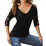 Nlife Women 3/4 Hollow Out Sleeve V Neck Top