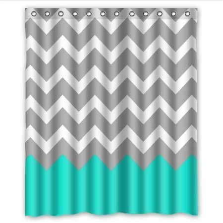 HelloDecor Chevron Turquoise Grey Whitees Shower Curtain Polyester Fabric Bathroom Decorative Curtain Size 60x72 Inches ()