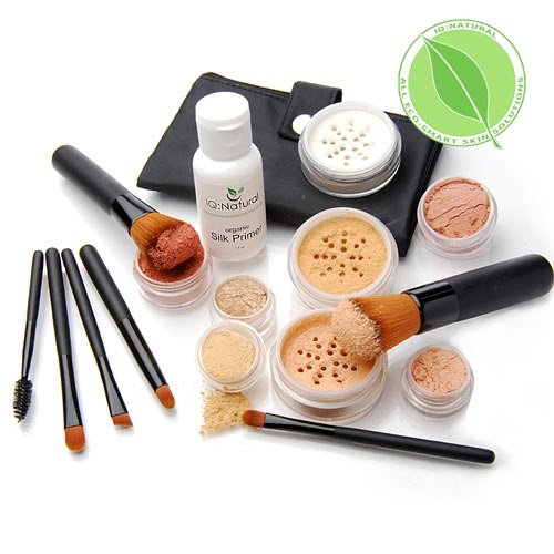 Premium 16 piece Large Mineral Makeup Kit (MEDIUM shade) - Concealer, Bronzer, Eye Shadow, Setting Powder, 2 Full Size Mineral Foundation, Primer - Create A Natural Flawless Look