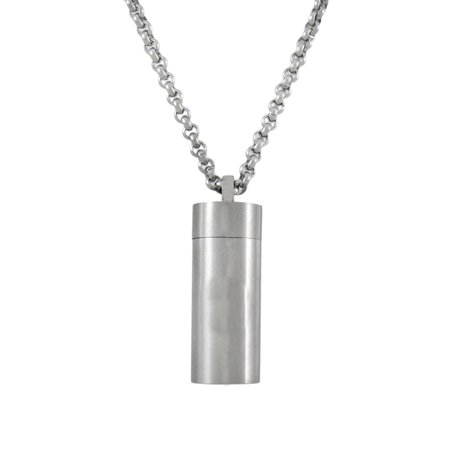Stainless Steel Cylinder Stash Pendant Pill Case -
