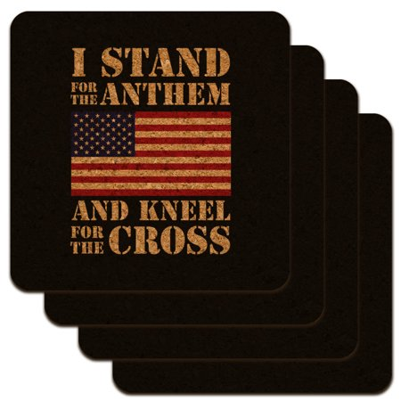 Image of I Stand For The Flag Kneel Cross USA American Flag Patriotic Low Profile Novelty Cork Coaster Set