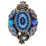 Sweet Romance  Vintage Peacock Glass Flower Iridescent  Purple Statement Ring