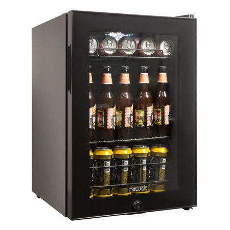 NewAir AB-850B Beverage Cooler and Refrigerator, Small Mini Fridge with Glass Door, Black Custom Panel French Door Refrigerator