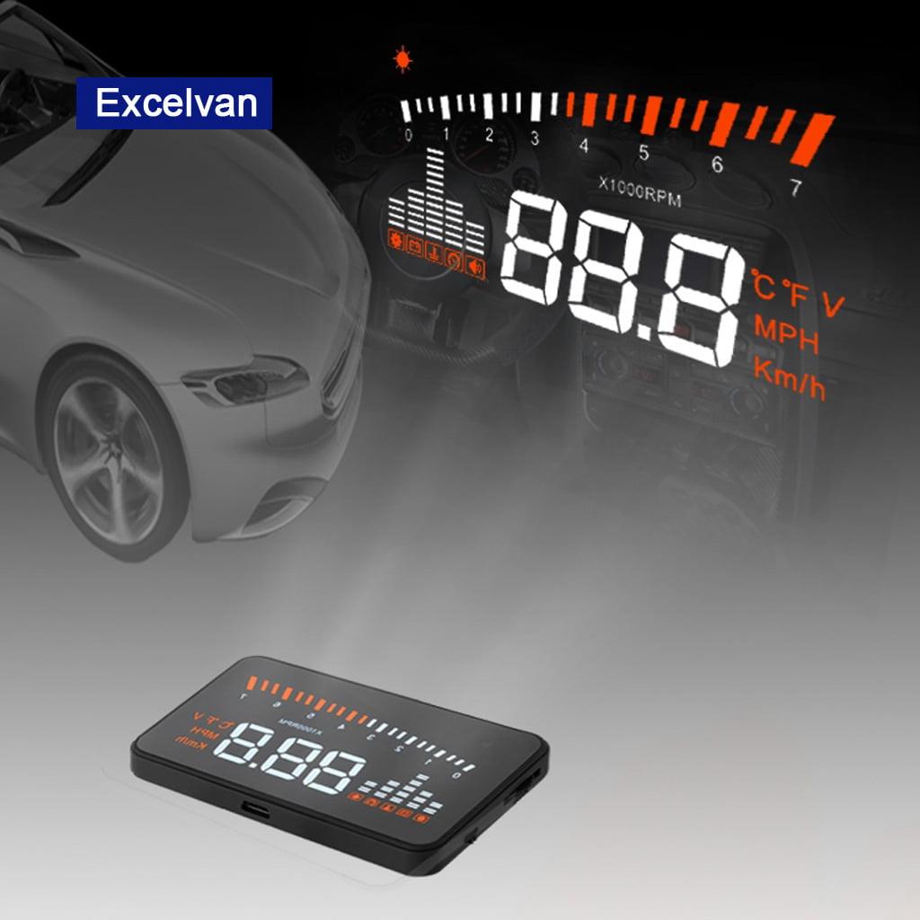 Excelvan HUD Projector OBD II Head Up Display Speed Warning Fuel OBD II  Speedometer