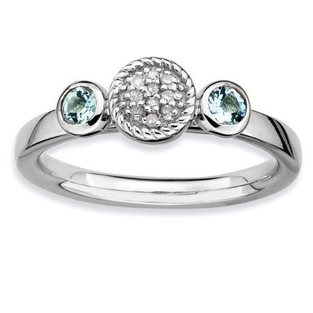 Sterling Silver Stackable Expressions Dbl Round Aquamarine & Dia. Ring Size 8 - image 3 of 3