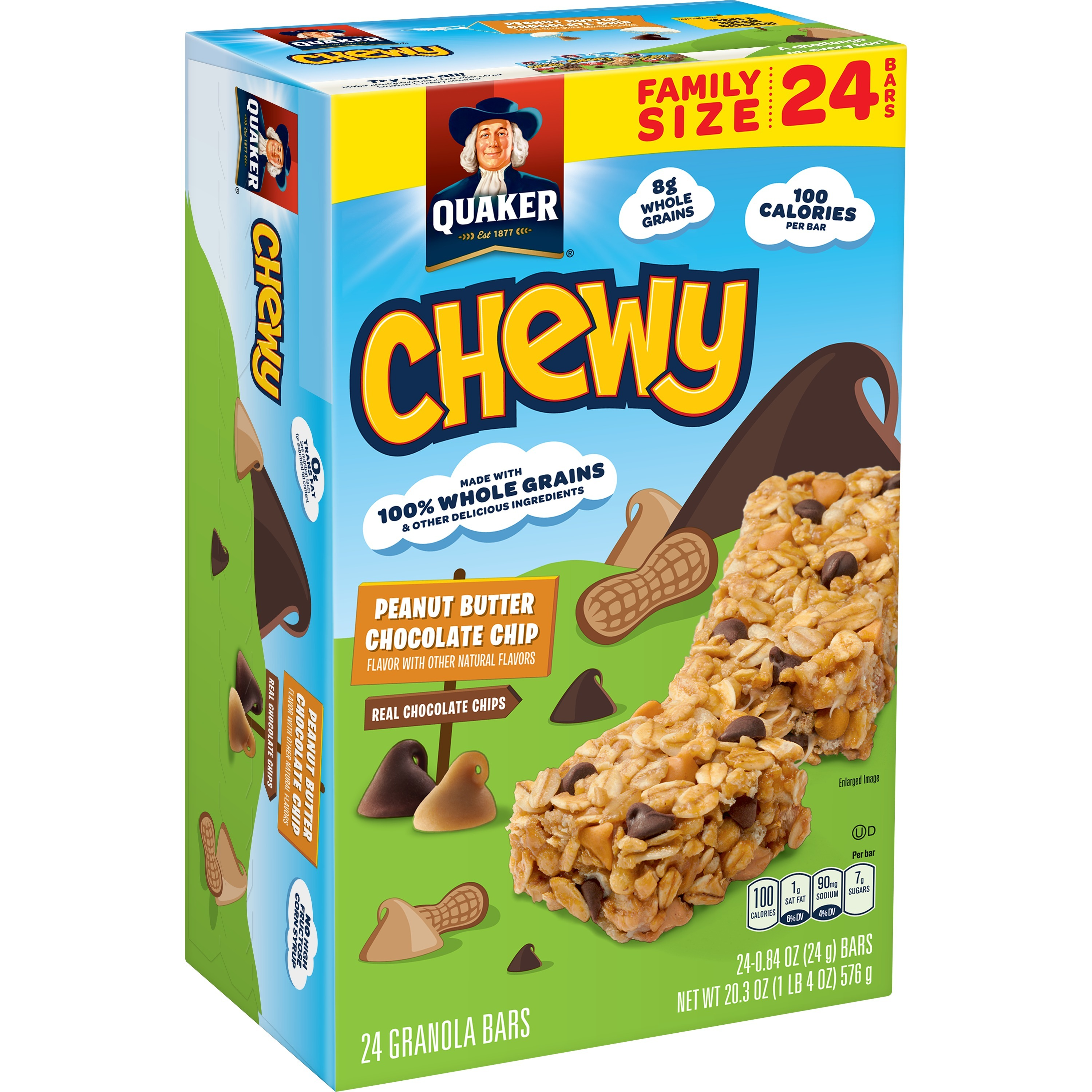 Quaker Chewy Granola Bars, Peanut Butter Chocolate Chip, 24 Count