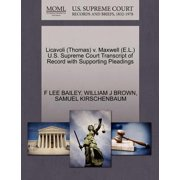 Licavoli (Thomas) V. Maxwell (E.L.) U.S. Supreme Court Transcript of Record with Supporting Pleadings