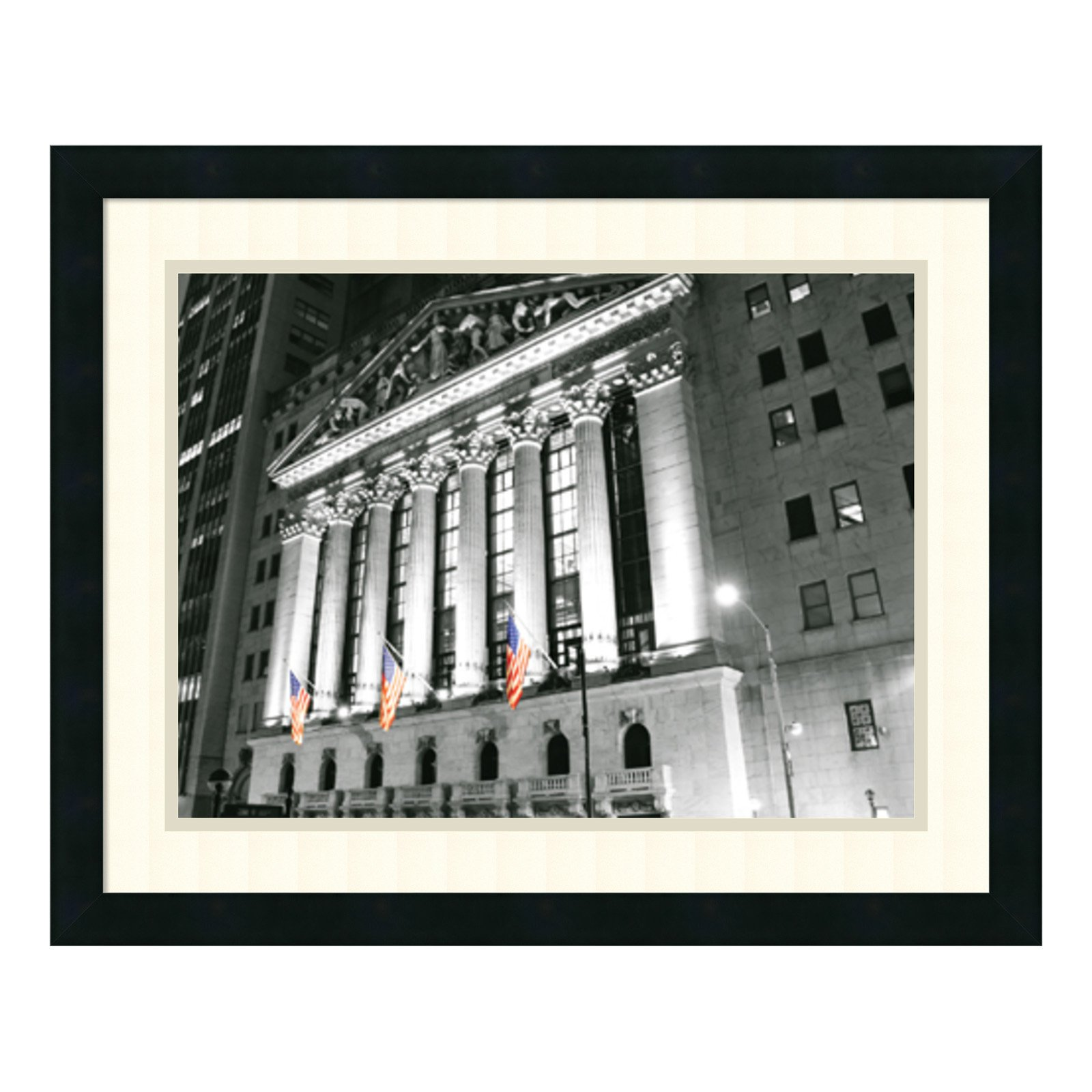 New York Stock Exchange at Night Framed Wall Art - 23.25W x 18.75H in.