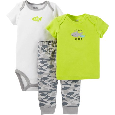 Child Of Mine Made By Carter's Newborn Baby Boy T Shirt, Bodysuit & Pant Outfit Set 3 Pcs