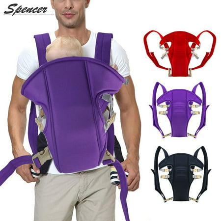 "Spencer 4 in 1 Newborn Front Facing Baby Carrier Adjustable Infant Wrap Sling Backpack Pouch Seat Safety Baby Kangaroo Carrier Best Gift for Mum and Dad ""Purple"""