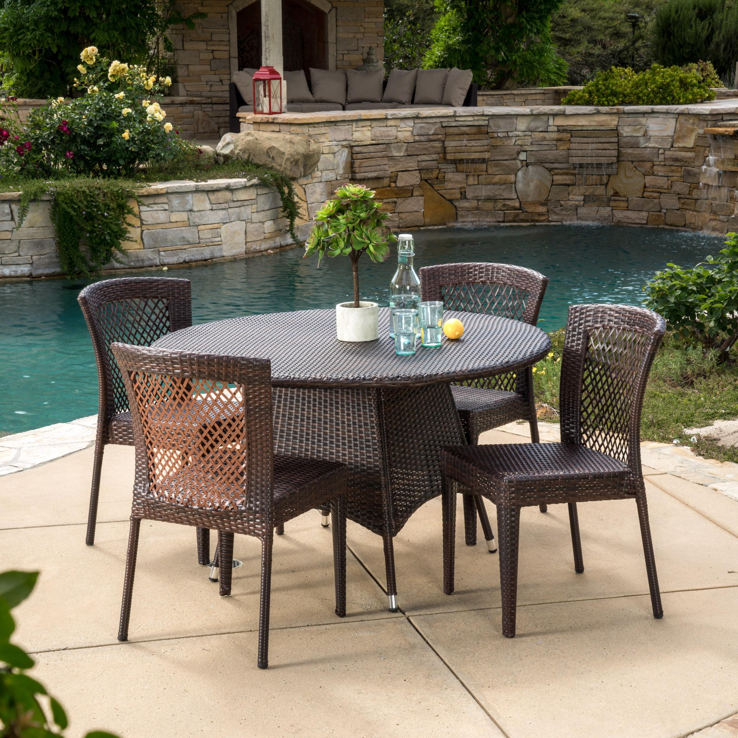 Cisneros 5 Piece Outdoor Round Wicker Dining Set, Multibrown
