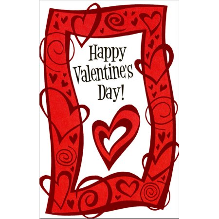 Freedom Greetings Foiled Heart & Swirl Border Valentine