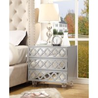 Randall Light Grey Glossy Nightstand - 3-drawer | Mirrored | Side Table | Modern | Lucite Acrylic Legs | by Inspired Home