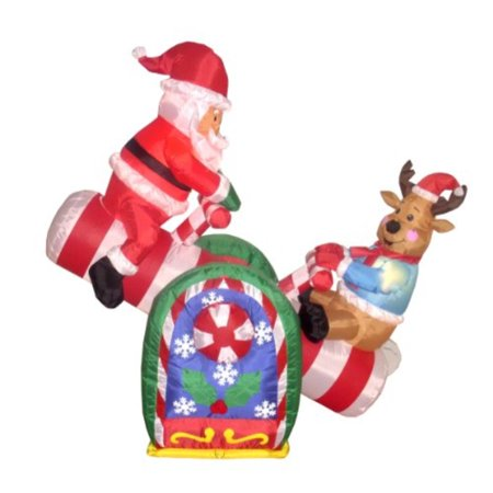 4 foot animated christmas inflatile santa claus and reindeer on teeter totter outdoor yard decoration