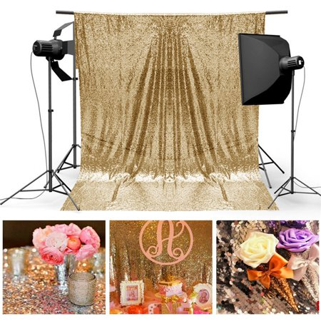4X6FT Gold/Silver Sequins Fabric Background Photography Backdrop Studio Photo Wedding Booth Tablecloth Decor