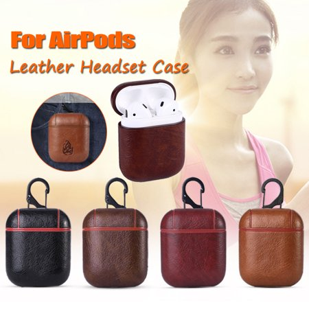 Leather Earphone Protective Case Skin Cover with Carabiner For Apple AirPods