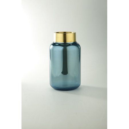 Midnight Blue Transparent Cylindrical Hand Blown Glass Vase with Gold Rim (Transparent Gold Rims)