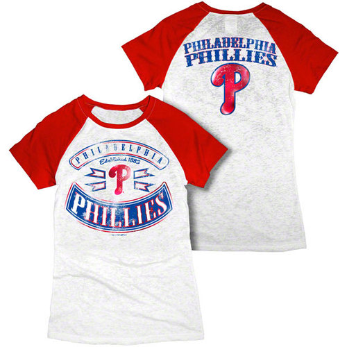 MLB - Philadelphia Phillies White Women's Crewneck Burnout Raglan T-Shirt