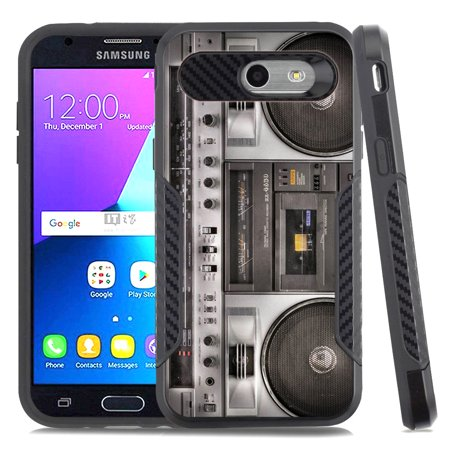 Dual-Layer Case for Samsung Galaxy J3 Luna Pro 4G LTE / J3 Eclipse / J3 Emerge / J3 Prime, OneToughShield ® Hybrid shockproof Protector Phone Case with Carbon Fiber Texture - Boombox