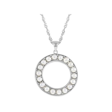 925 Sterling Silver White Simulated Pearl Open Circle Pendant Necklace 17""