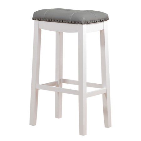 Miraculous Angel Line Cambridge 29 Padded Saddle Stool White W Gray Cushion Set Of 2 Gmtry Best Dining Table And Chair Ideas Images Gmtryco