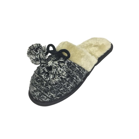 4c43eb0c15330 Fabulous Footwear - Women's Knit Memory Foam Extra Comfort Slippers with Faux  Fur Insole and Pom-Pom Bow - Assorted Colors - Walmart.com