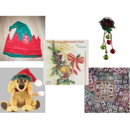Puppy Beanie (Christmas Fun Gift Bundle [5 Piece] -  Elf Hat w/ Jingle Bell - Festive Holly Berry & Pinecone Door Knob Jingler - The Mormon Tabernacle Choir It's  CD - Ty Beanie Babies Jinglepup  Puppy  6