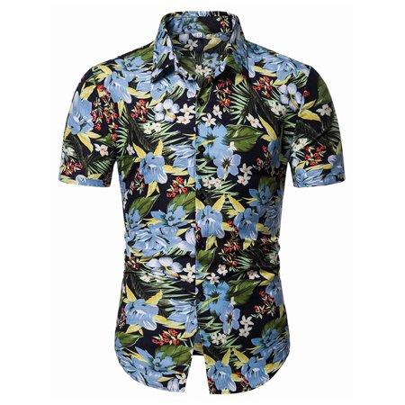 12 Days Of Christmas Hawaiian Style (Young Men's Short Sleeve Printed Flower Shirt Hawaiian)