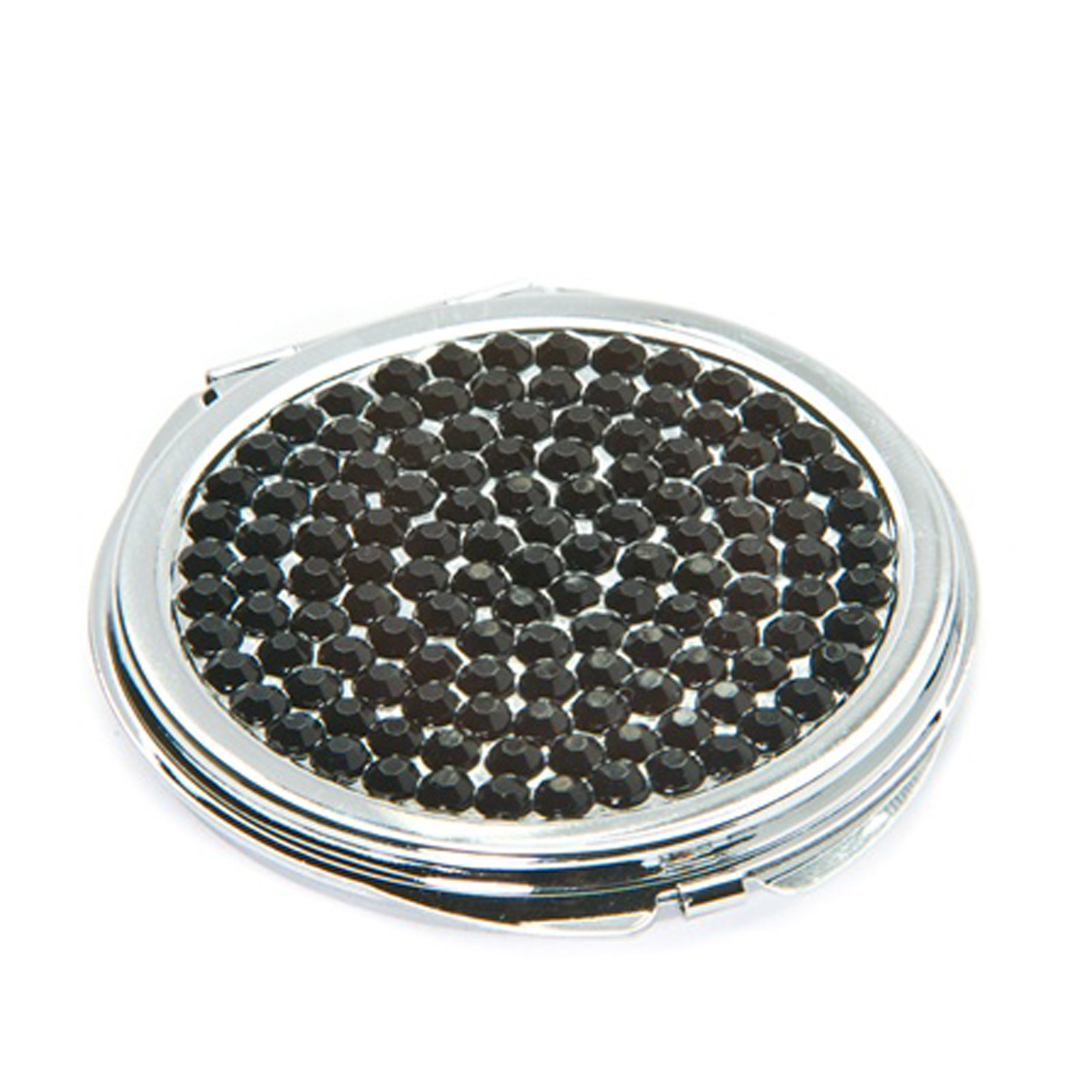 New Black Crystal Metal Round Cosmetic Makeup Travel Mirror