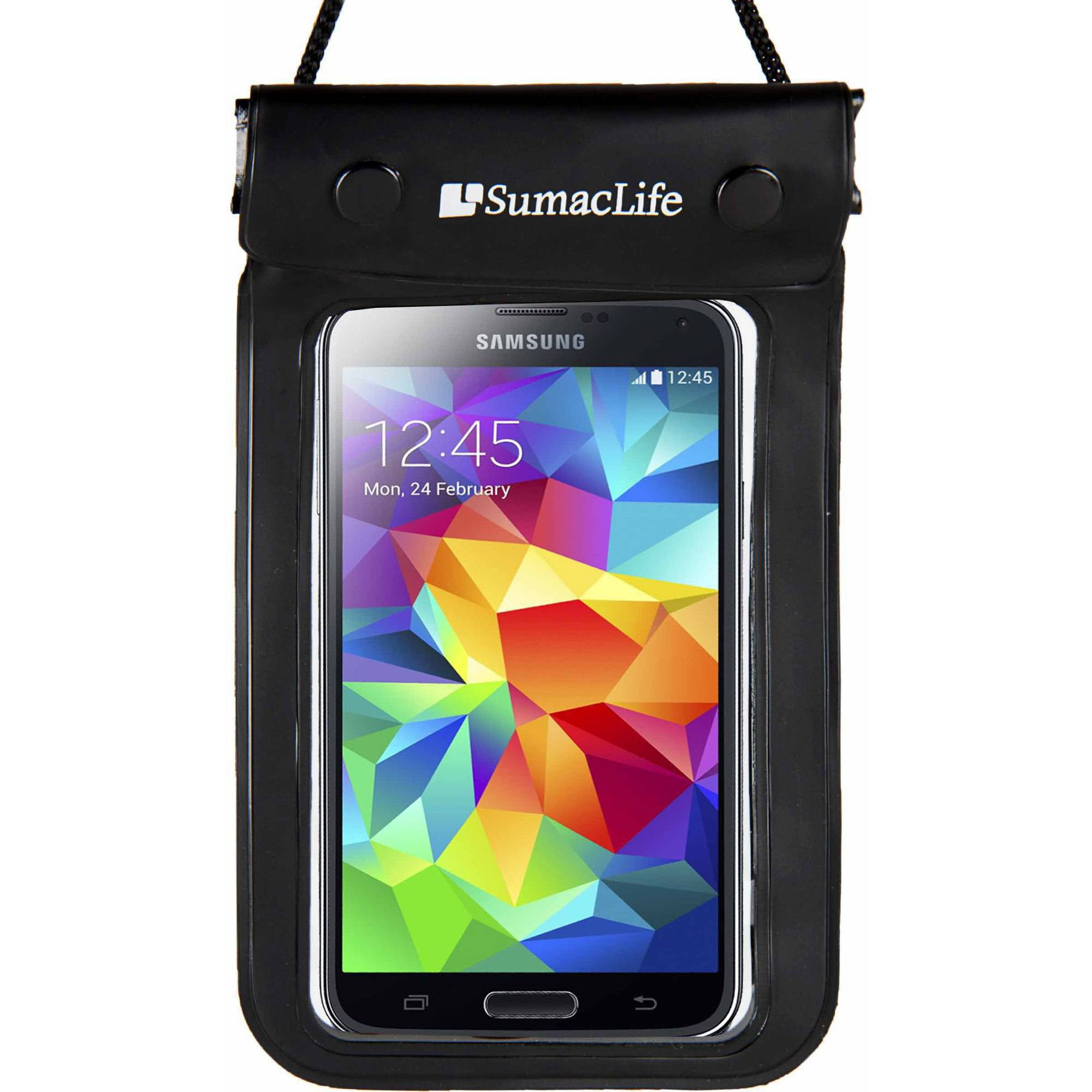 SUMACLIFE Waterproof Triple Zip Clear Case Carrying Bag (with Lanyard) for Smartphones up to 6in x 3.5in