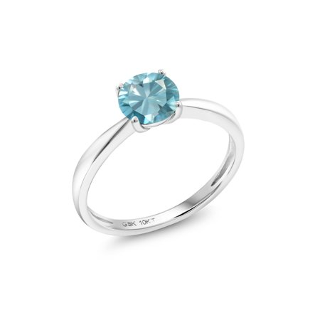 1.20 Ct Round Blue Zircon 10K White Gold Solitaire - Blue Zircon