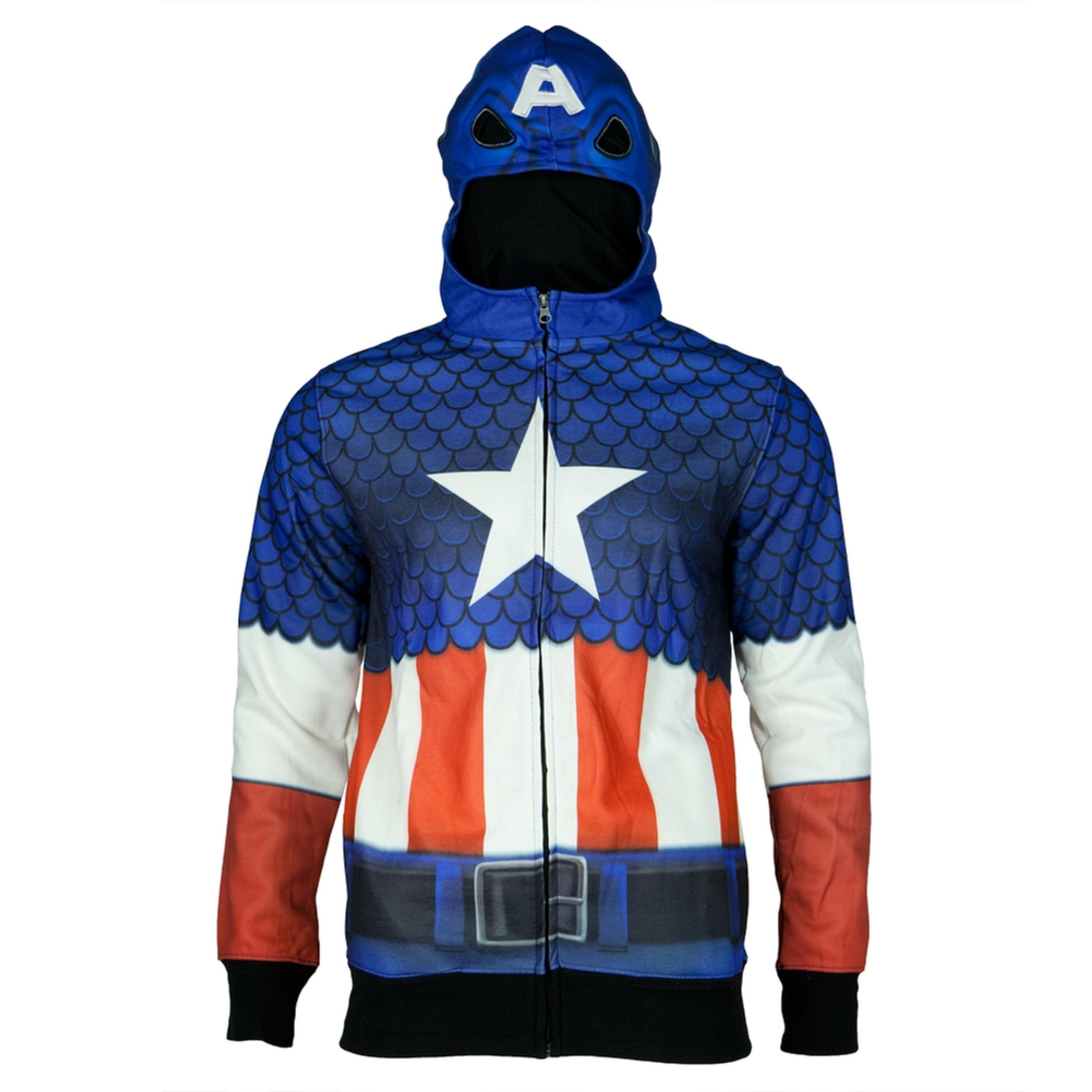 Captain America - Classic All Over Costume Zip Hoodie