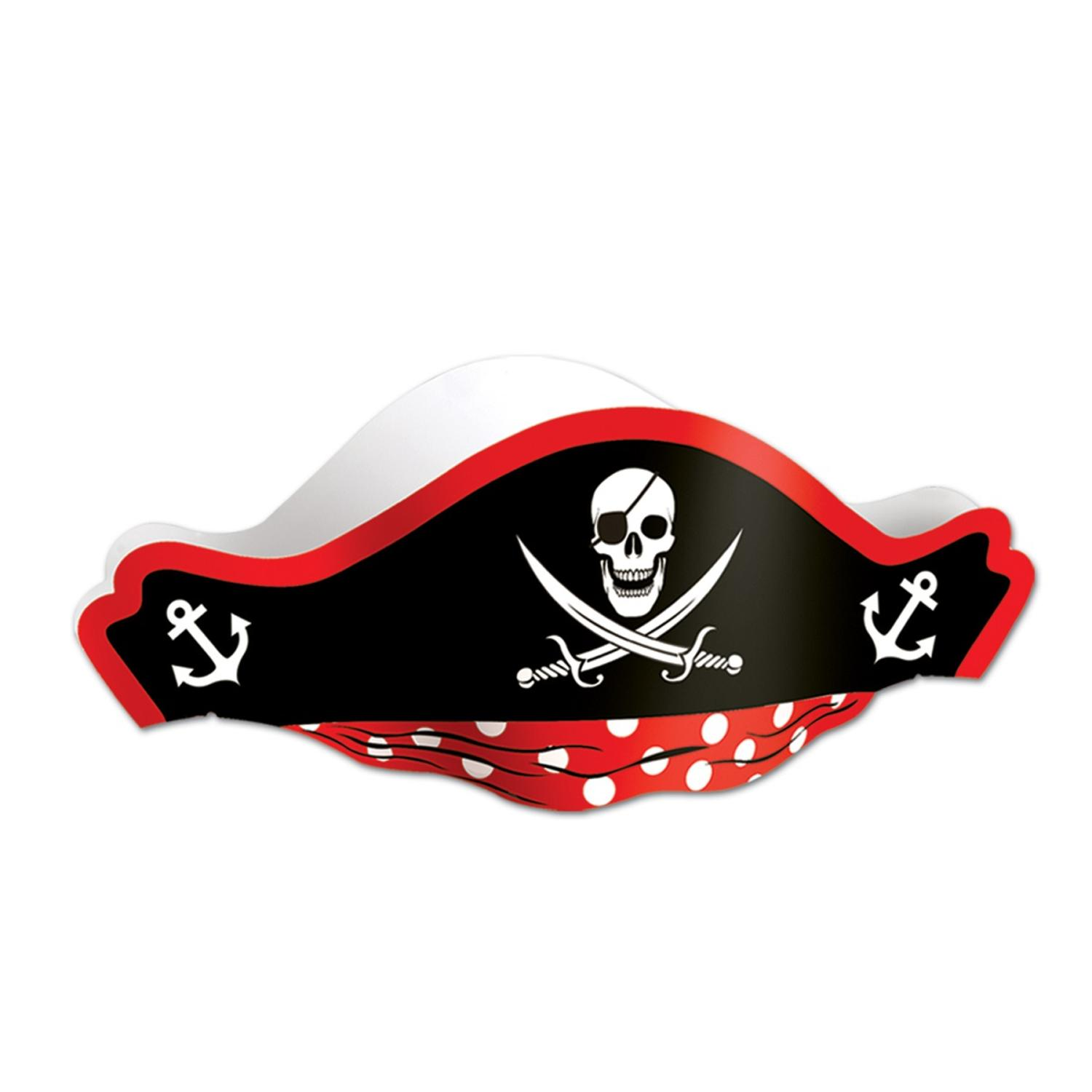 Club Pack of 48 Skull Printed Pirate Party Hat with Bandanna