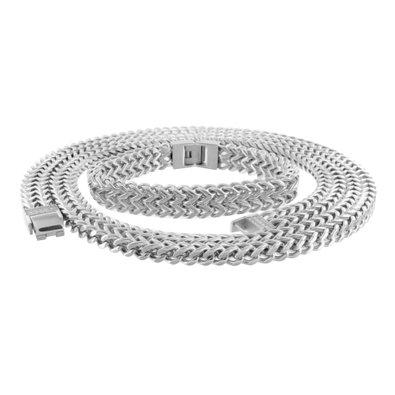 Franco Necklace Bracelet Set Stainless Steel 14k White Go...
