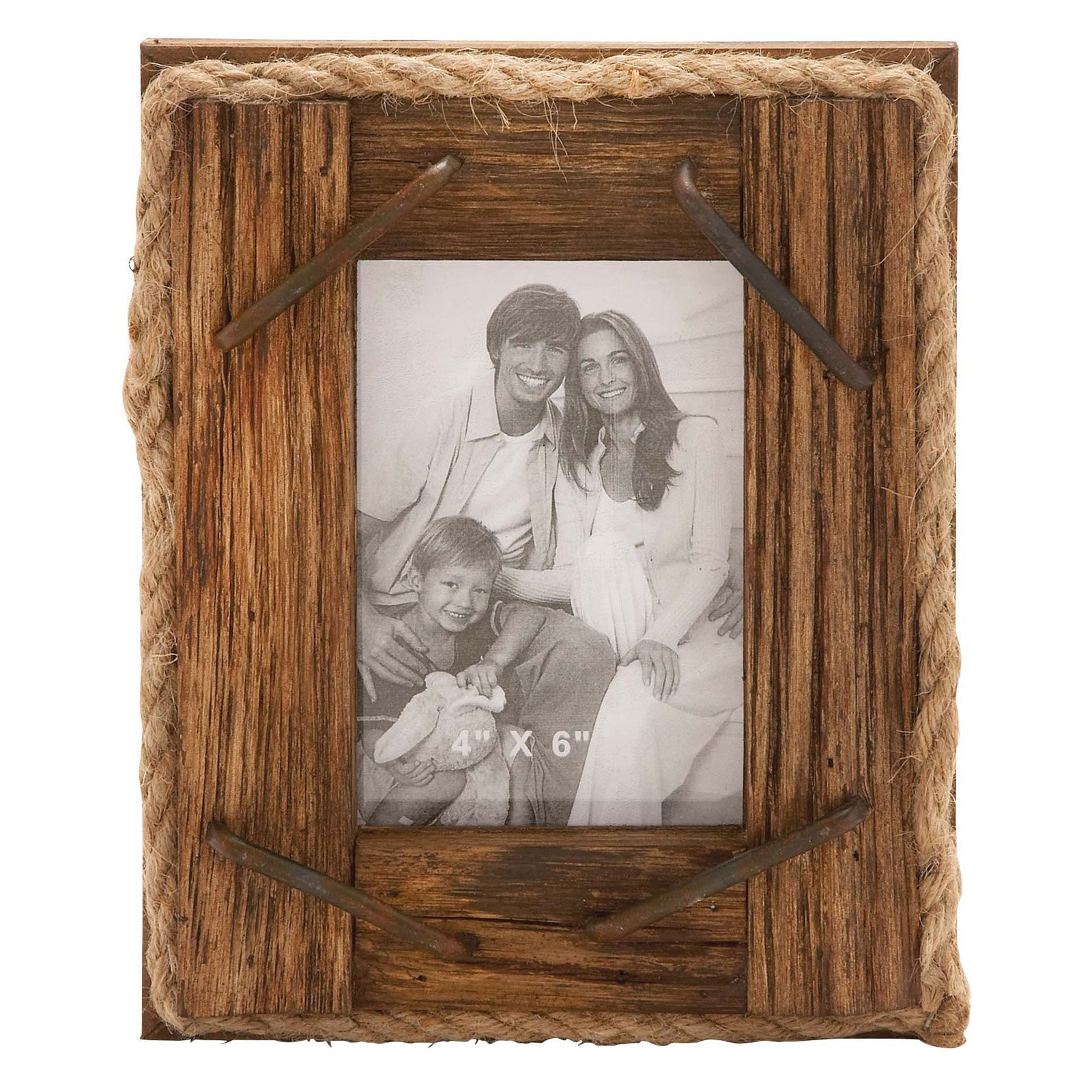 Woodland Imports Rustic Wood and Rope Picture Frame