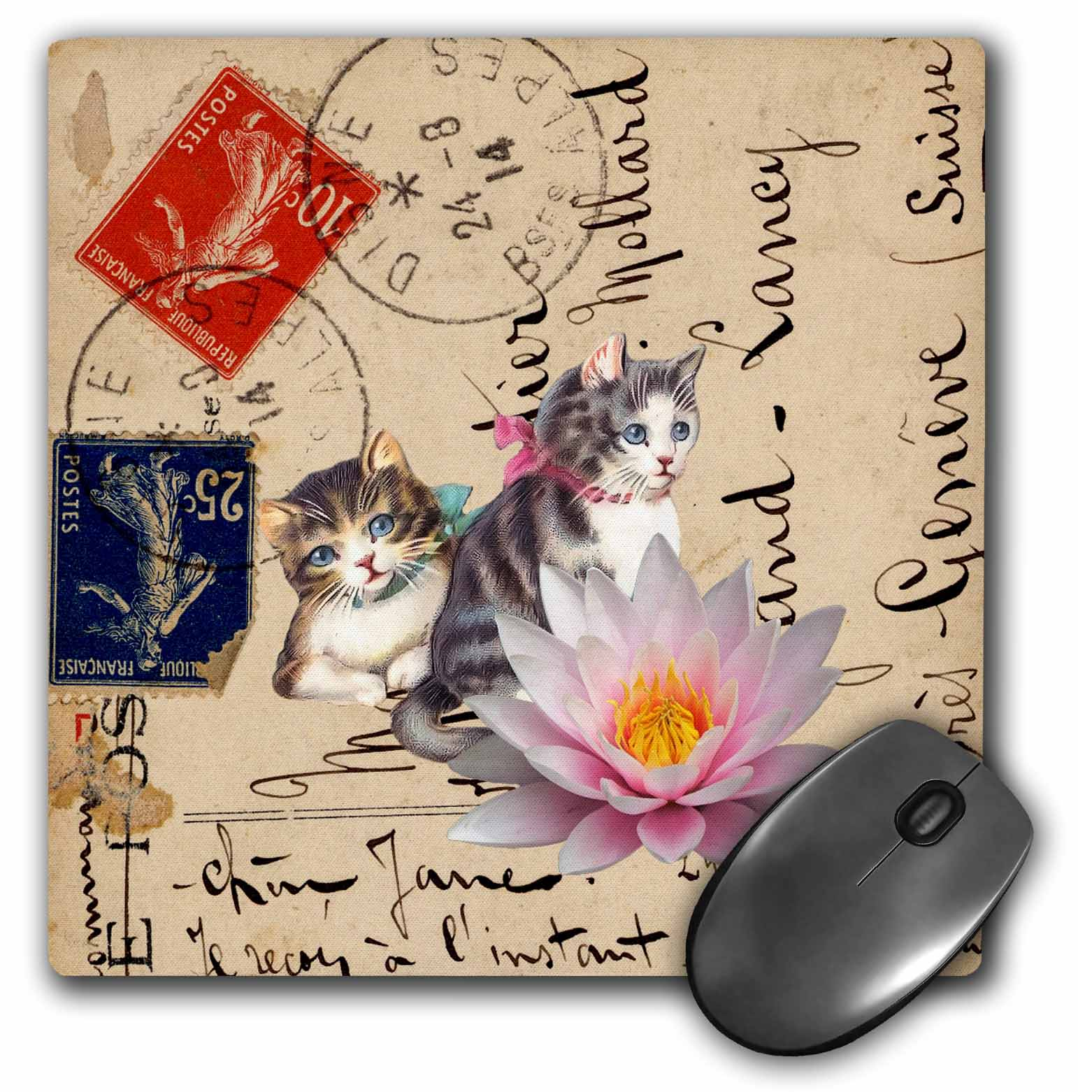 3dRose Vintage Cats on a Postcard Back Digital Art by Angelandspot, Mouse Pad, 8 by 8 inches
