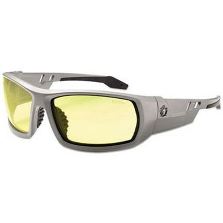Skullerz Odin Safety Glasses, Gray Frame/Yellow Lens, Nylon/Polycarb