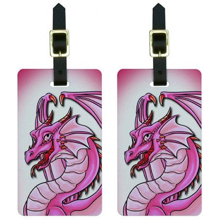 Dragon Happy Pink Cute Fantasy Luggage Tags Suitcase Carry-On ID, Set of -