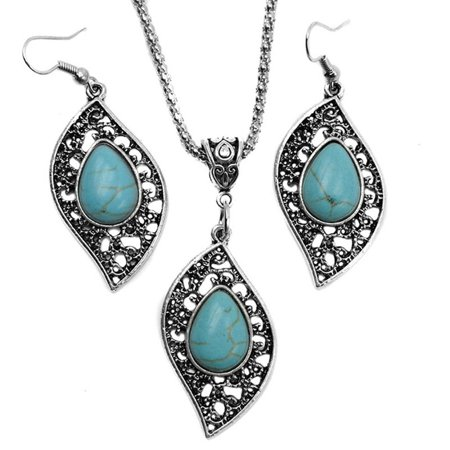 Outtop Retro Design Leaf Turquoise Necklace Earrings Fashion Jewelry Set