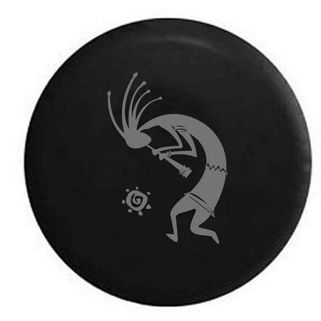 Kokopelli Flute Tribal Sun Trailer Spare Tire Cover Vinyl Stealth Black 29 In