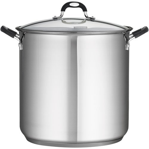 Tramontina 18/10 Stainless Steel 22-Quart Stockpot Covered with Clear Glass Lid, Silver