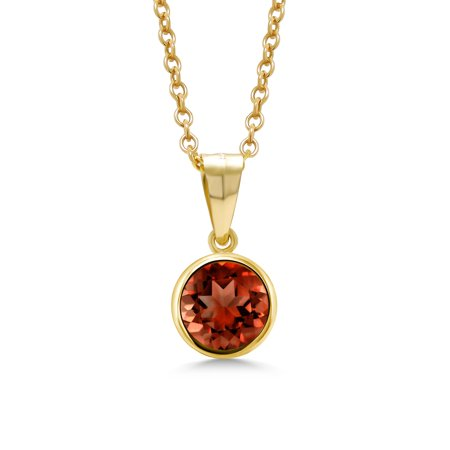 1.00 Ct Round Red Garnet 14K Gold Filled Pendant With Chain (Round Cut Garnet Pendant)