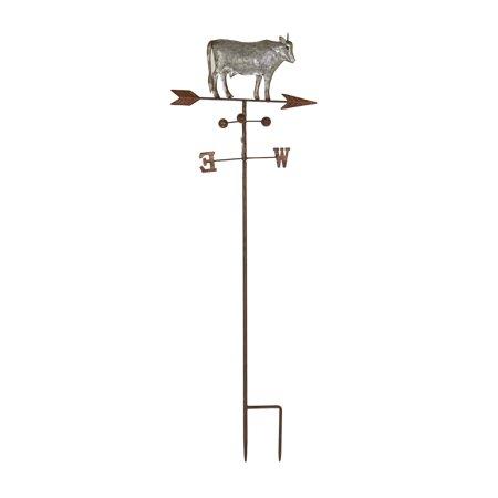 Decmode Farmhouse Iron Cow On Weathervane Decorative Trellis, Gray (Weathervane Stake)