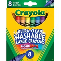(3 Pack) Crayola Ultra-Clean Washable Large Crayons, 8 Count