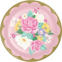 Club Pack of 96 Rose and Yellow Floral Tea Party Round Plates 8.8""