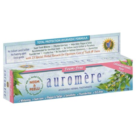 Auromere Ayurvedic Herbal Toothpaste Non Foaming Cardamom Fennel, 4.16 - Fennel Toothpaste