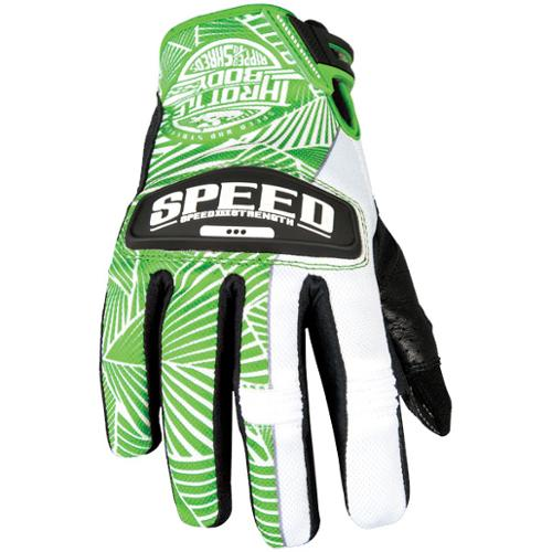 Speed & Strength Throttle Body Womens Leather Mesh Gloves Green/White MD