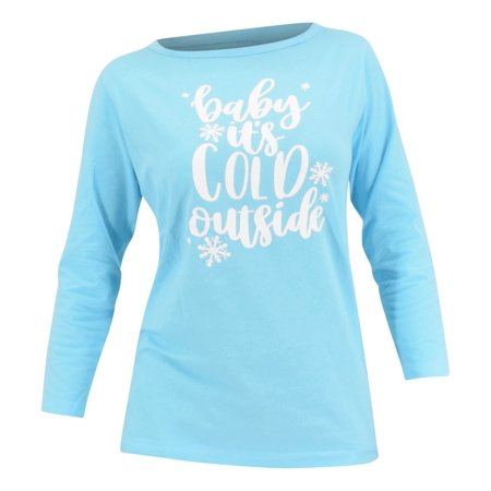 Women Baby It's Cold Outside Christmas Long Sleeved T Shirt (S) ()