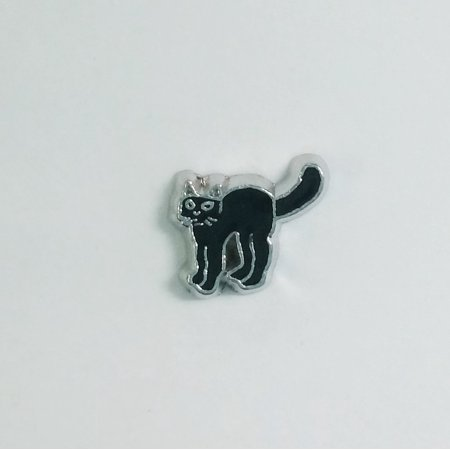 Black Enameled Cat - 1 PC - Black Cat Halloween Enamel Silver Charm for Floating Locket Jewelry F0218