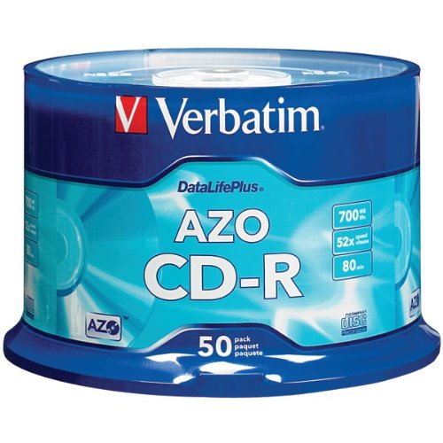 VERBATIM 94523 700MB 80MIN 52X DataLifePlus CD-Rs, Branded 50pk Spindle